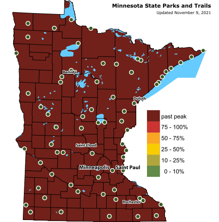 Map of current fall colors in Minnesota with color coded ranges